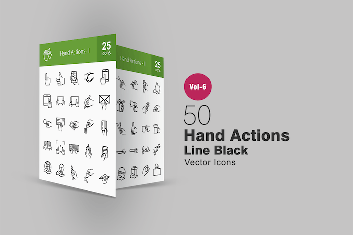 Thumbnail for 50 Hand Actions Line Icons