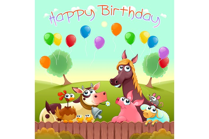Thumbnail for Happy Birthday Card with Farm Animals