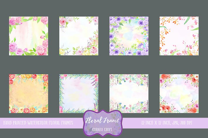 Thumbnail for Watercolor Floral Frames