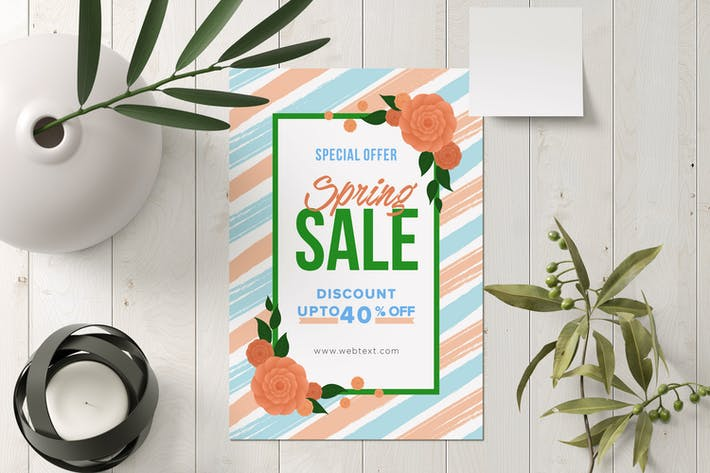 Abstract Blue & Pink Spring Poster in Green Frame