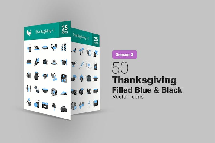 Thumbnail for 50 Thanksgiving Filled Blue & Black Icons