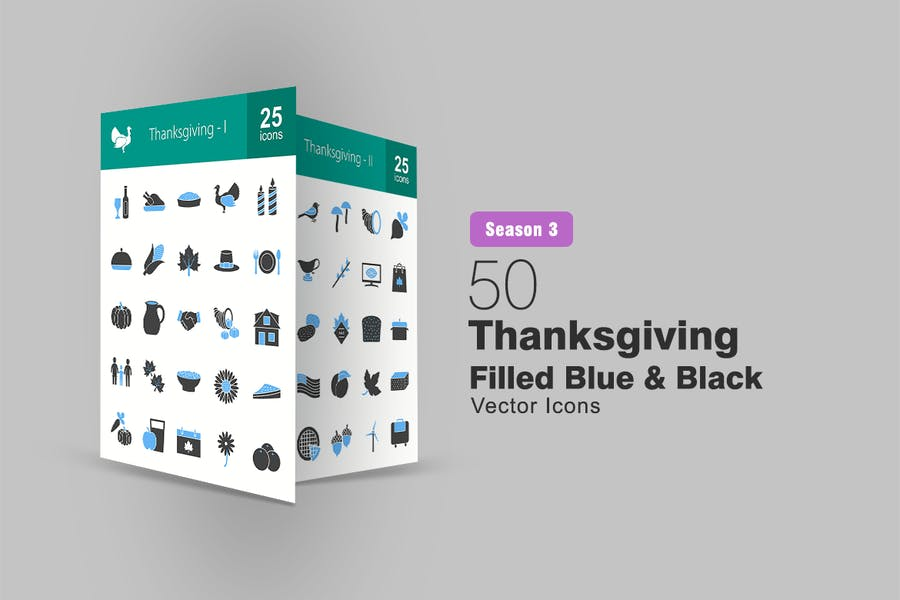 50 Thanksgiving Filled Blue & Black Icons