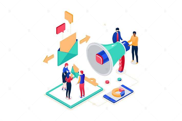 Thumbnail for Email marketing - colorful isometric illustration