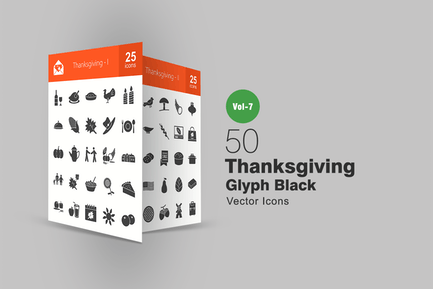 50 Thanksgiving Glyph Icons