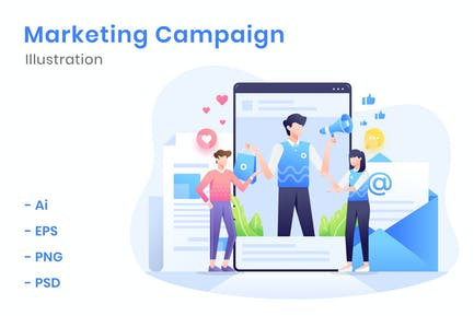 Marketing-Kampagnen-Illustration