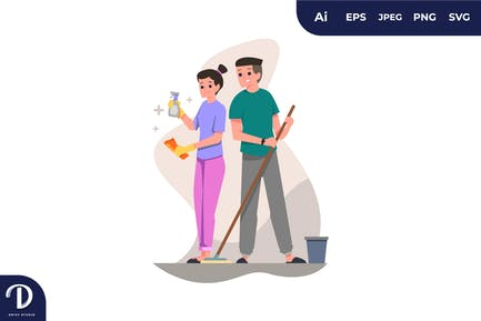 Ilustraciones de limpieza de pareja