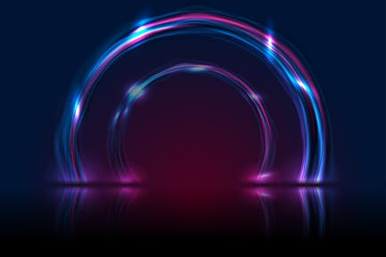 Blue ultraviolet neon glowing circles