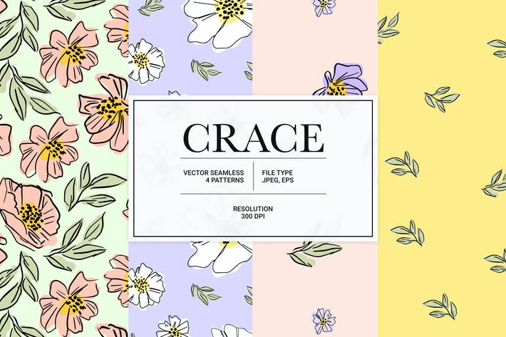 Crace – spring flower vector pattern