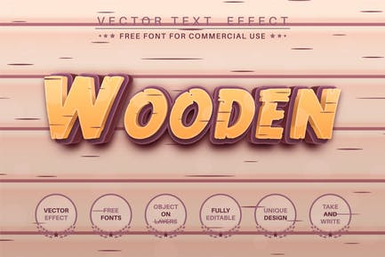 Wood craftsmans - editable text effect, font style