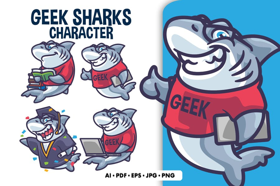 Geek Sharks Illustrations-Charakter