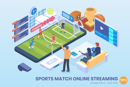 Isometric Sports Match Online Streaming Vector