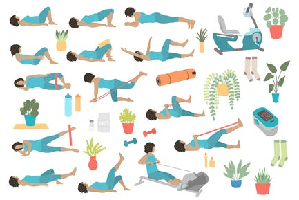 Posturas de ejercicio supino del cuerpo inferior