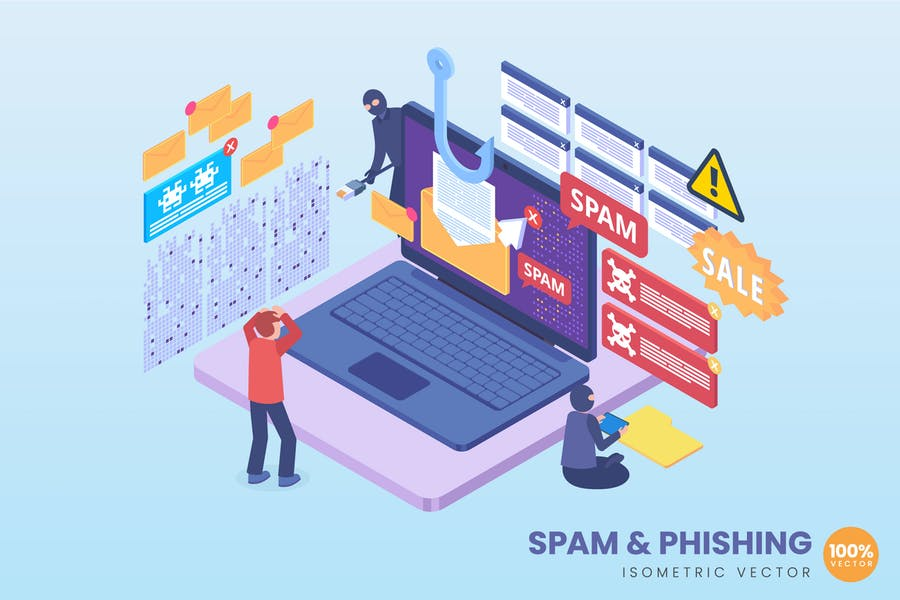 Isometric Data Phishing Concept