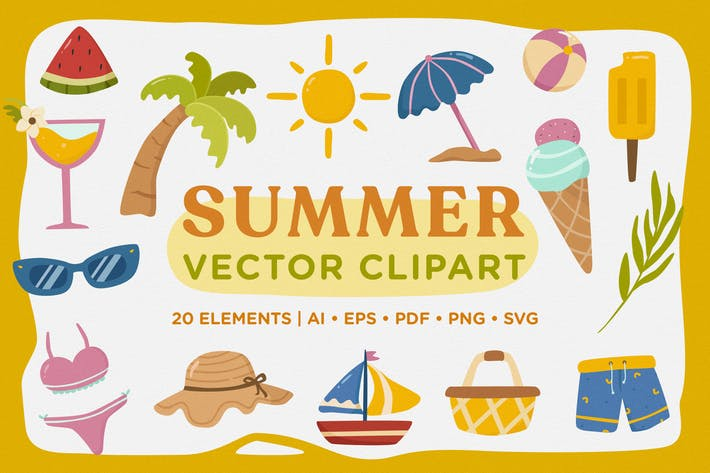 Thumbnail for Summer Vector Clipart Pack