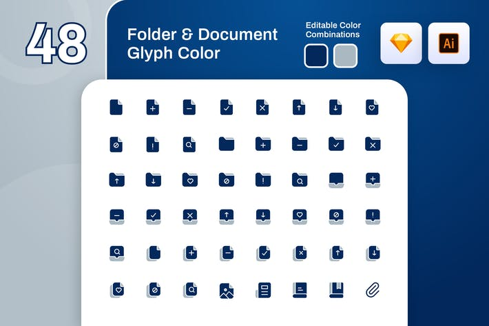Thumbnail for Folder And Document Glyph Color Icon Set