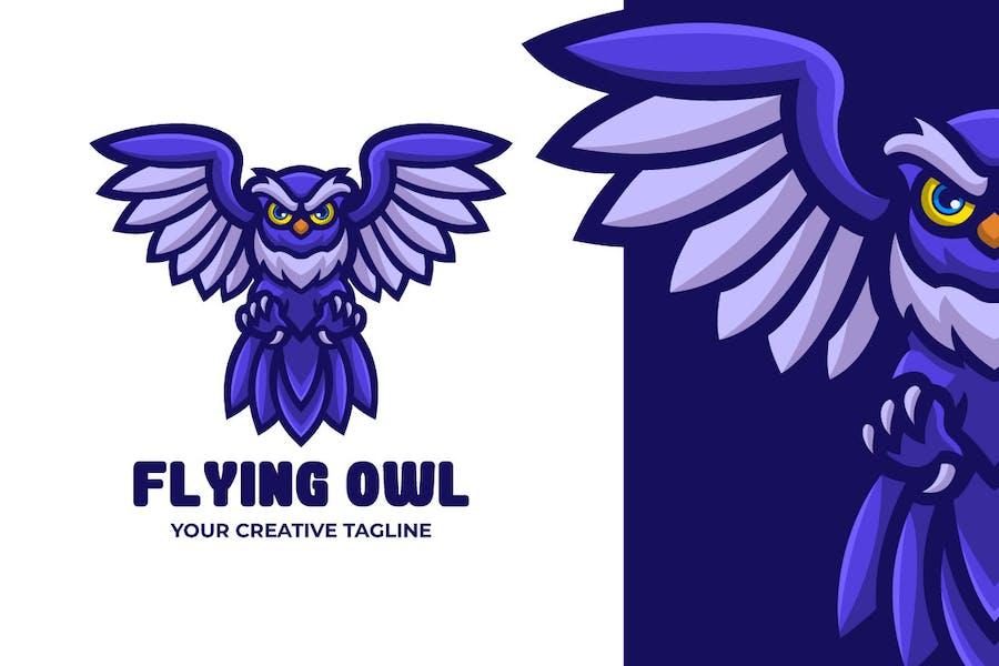 Flying Owl Bird Mascot Character Logo