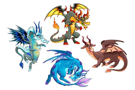 Collection of Four Dragons