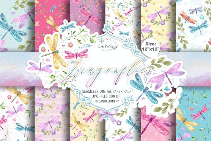 Dragonflies digital paper pack