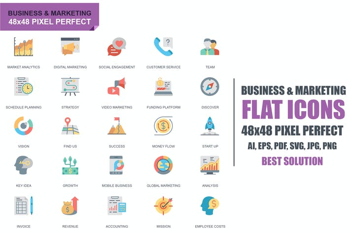 Thumbnail for Simple Set Business and Marketing Flat Icons