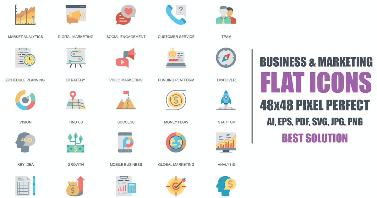 Download Simple Set Business and Marketing Flat Icons by Unknow