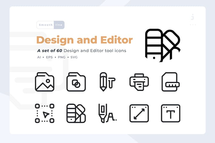 Thumbnail for Smoothline - 60 Design and Editor icon set