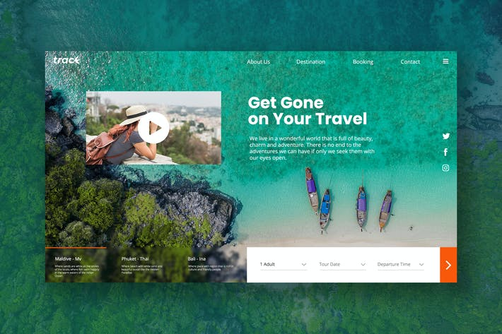 Thumbnail for Travel Hero Header PSD Template