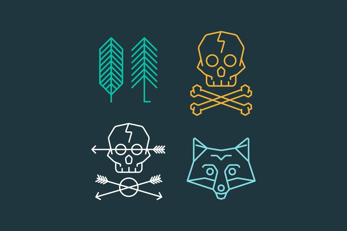 Thumbnail for Vector set of cool logo templates on background. R