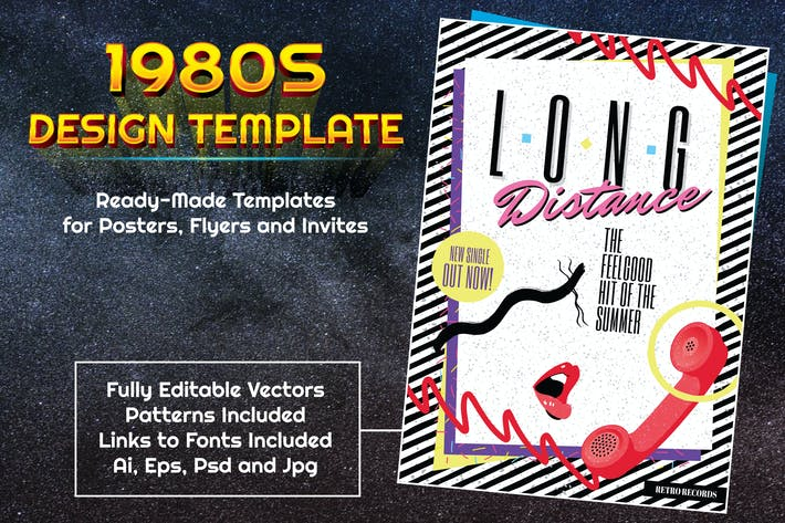 Thumbnail for 1980s Music and Fashion Themed Design Template