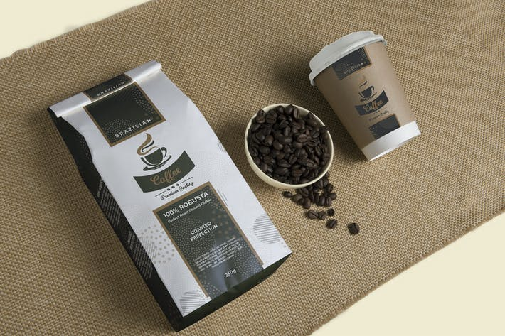 Thumbnail for Premium Coffee Packaging and Cup Label Template