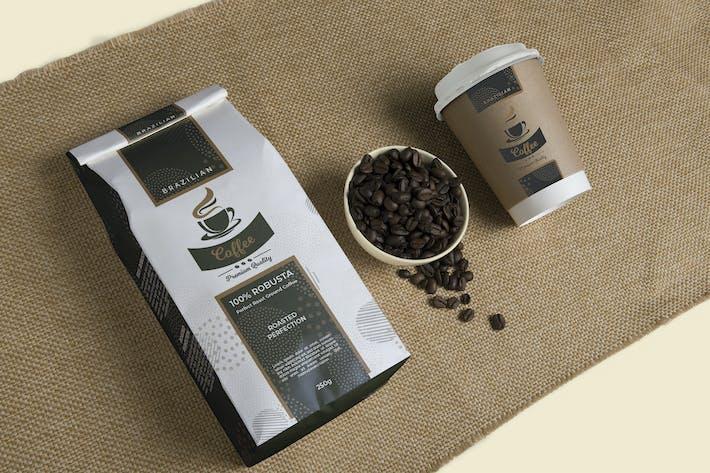 Premium Kaffeeverpackung und Tasse EtikettenVorlage