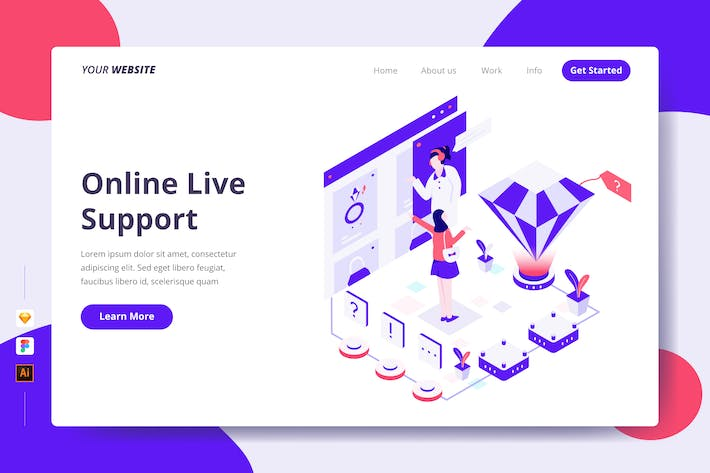 Thumbnail for Online Live Support - Landing Page