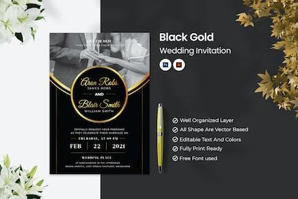 Invitation de mariage en or noir