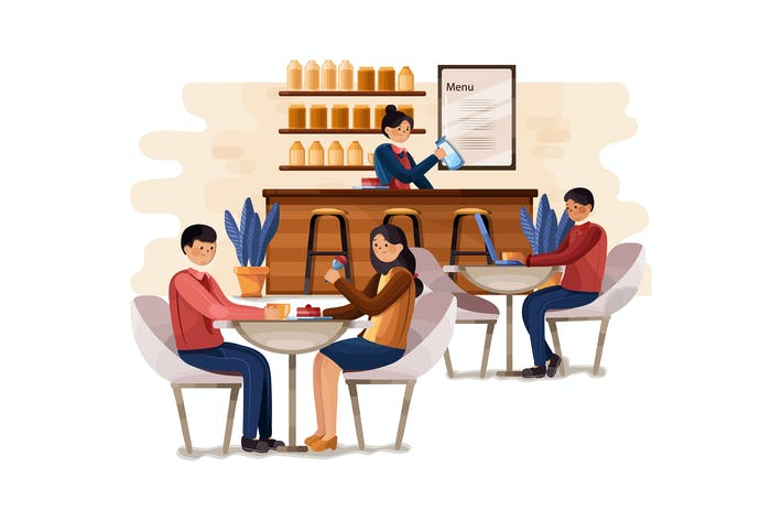Thumbnail for Cafe shop and people relaxing illustration concept