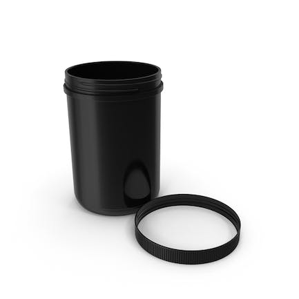 Plastic Jar Wide Mouth Straight Sided 70oz Cap Laying Black