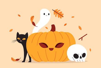 Halloween Pumpkin in Autumn Vector Illustration