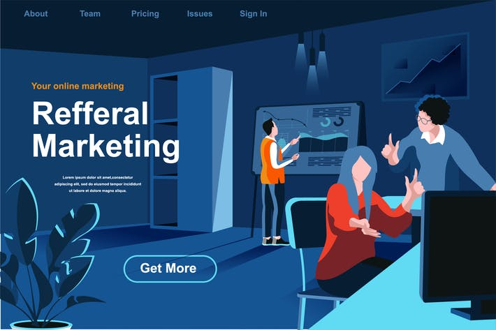 Thumbnail for Referral Marketing Isometric Web Page Flat Concept
