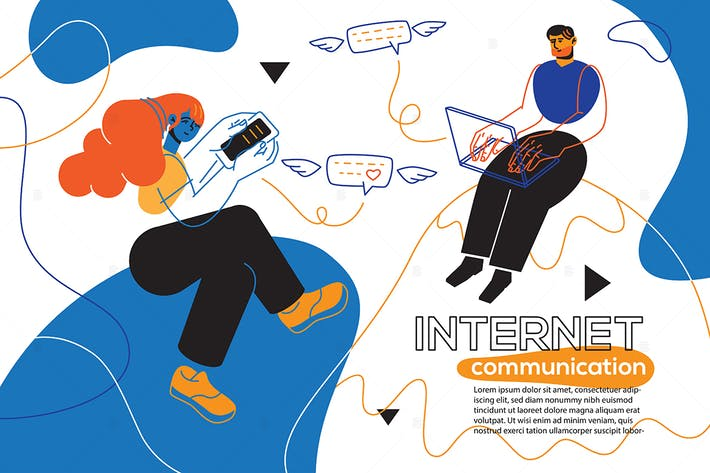 Thumbnail for Internet communication - flat design style banner