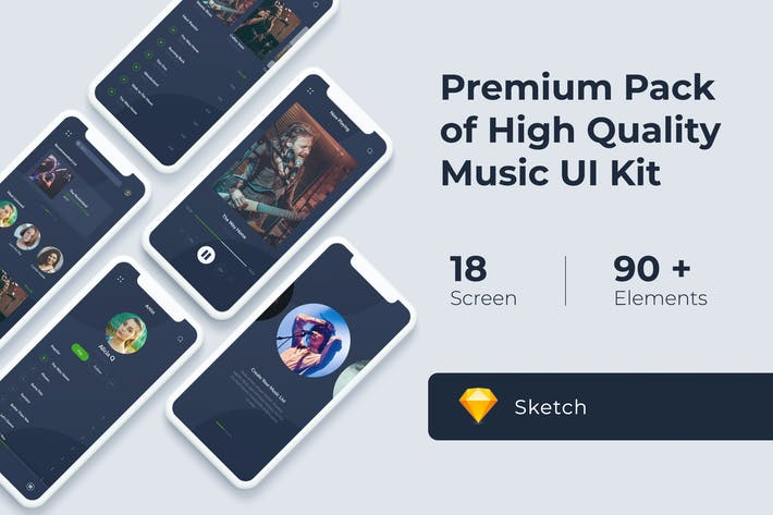 Thumbnail for Music Audio Play App UI KIT for Sketch