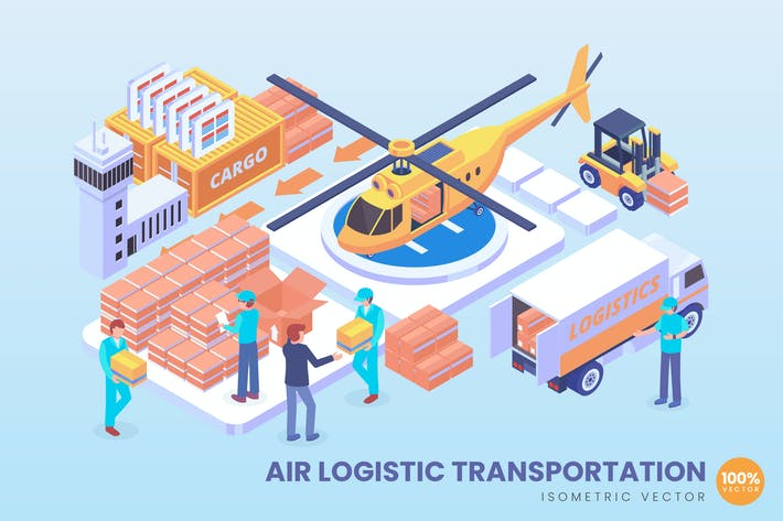 Thumbnail for Isometric Air Logistic Vector Concept