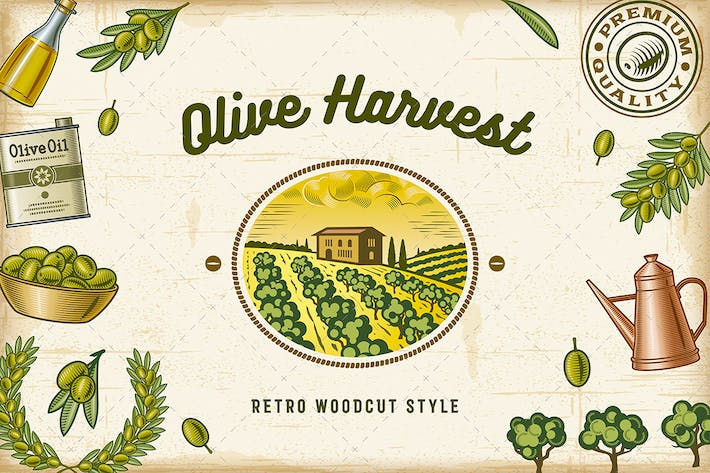 Thumbnail for Vintage Colorful Olive Harvest Set