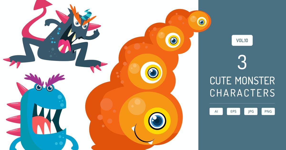 Download Cute Monster Characters Vol.10 by Graphiqa