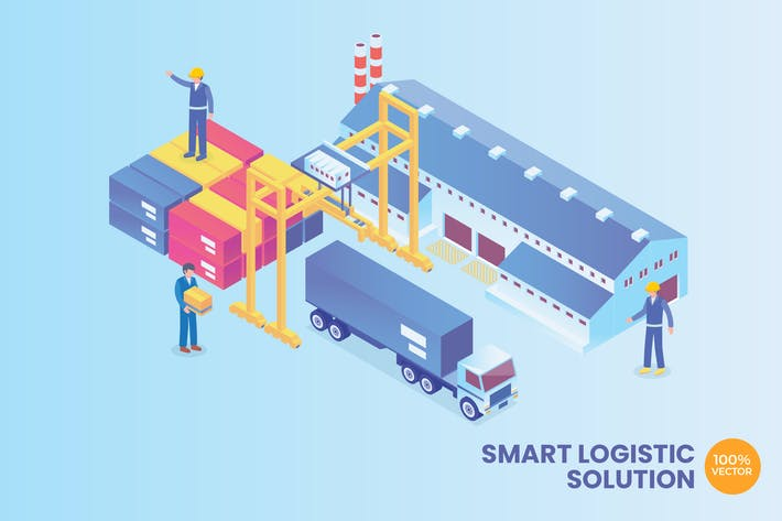 Thumbnail for Isometric Smart Logistic Solution Vector Concept