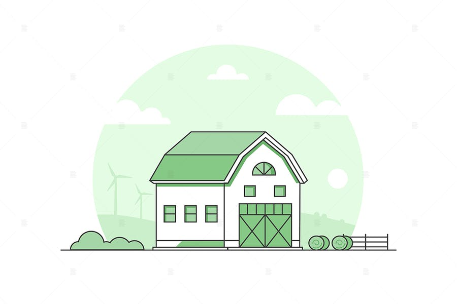 Country life - thin line design style illustration