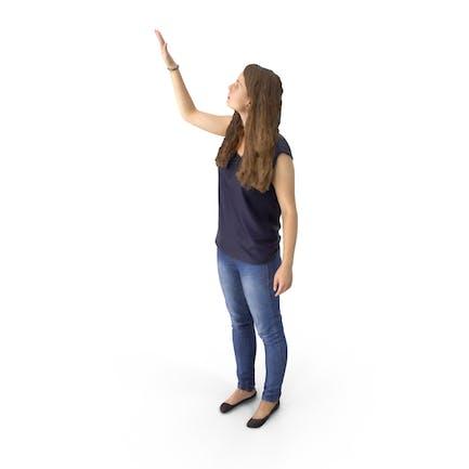Casual Woman Reaching