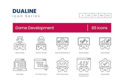 85 Game Development Icons - Dualine Series