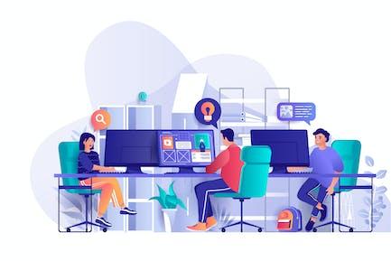 Designer Unternehmen Flache Web-Illustration
