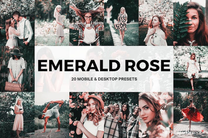 Thumbnail for 20 Emerald Rose Lightroom Presets and LUTs
