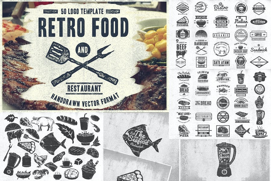 50 Vintage Food & Restaurant Badges Logo
