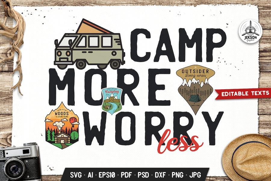 Camp More Worry Less Hike Badge Vector Retro Logo