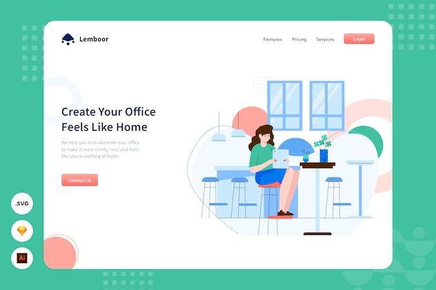 Work From Home - Website Header - Illustration